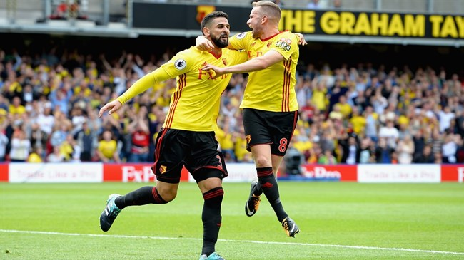 Watford earns dramatic draw in six-goal thriller against Liverpool