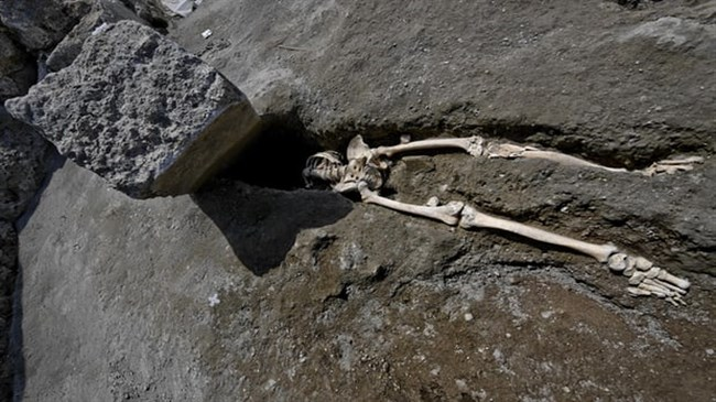 Skeleton unearthed of man crushed by huge rock in Vesuvius eruption
