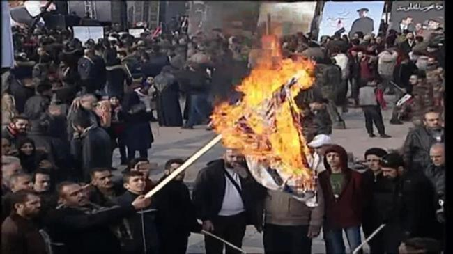 Israeli flags burnt as Syrians rally to condemn US assassination of Iran's Soleimani