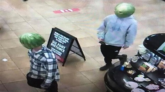 Two men rob convenience store wearing watermelon rind disguises: Virginia police