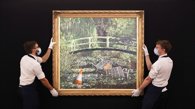 Banksy's 'Show Me the Monet' painting sells for £7.5m at auction